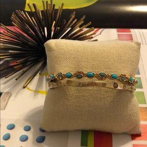 Sorrelli Gold and Turquoise Bangle Bracelet Set